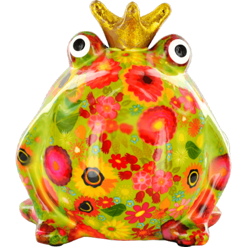 Freddy The Frog Green Leaves and Flowers Ceramic Money Box